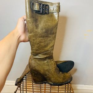 Apepazza Distressed Leather Agatta Wedge Boot